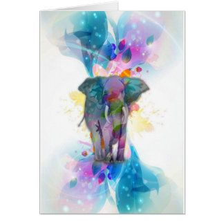 cute colourful watercolours splatters elephant greeting card
