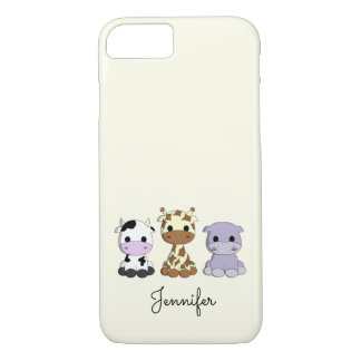 Cute cow giraffe hippo cartoon name iphone case