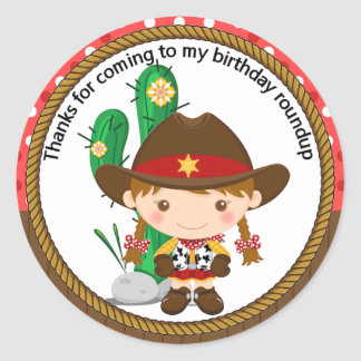 Cute Cowgirl Sheriff Birthday Round Sticker