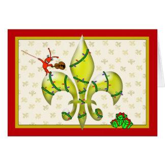 Cute Crawfish Fleur de Lis Christmas Greeting Greeting Card