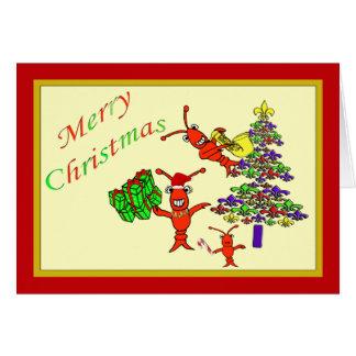 Cute Crawfish Lobster FLeur de Lis Tree Xmas Greeting Card