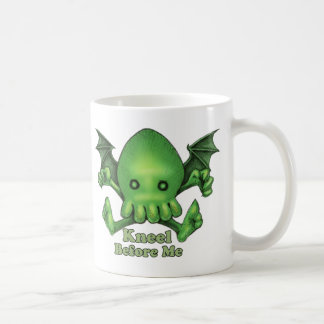 Cute Cthulhu Chibi Kneel Before Me Basic White Mug