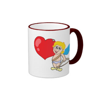 Cute Cupid with bow and heart Ringer Mug