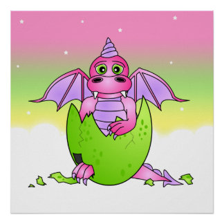 Cute Dragon Baby in Cracked Egg - Pink / Purple Poster