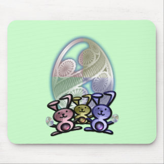 Cute Easter Bunnies and Eggs Mouse Pad