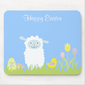 Cute Easter Lamb with Eggs Mousepad
