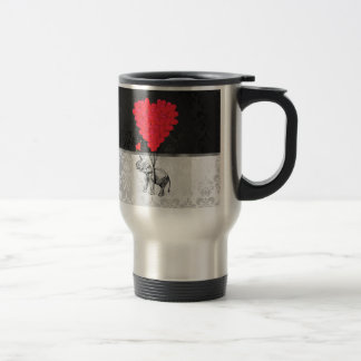 Cute elephant and love heart on gray stainless steel travel mug