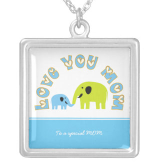 Cute elephants Mother baby boy Mother's Day Gift Square Pendant Necklace
