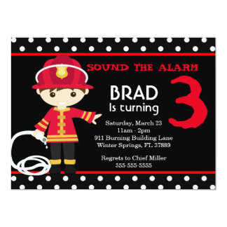 Cute Firefighter Birthday Party Invitation