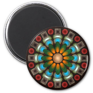 Cute Floral Abstract Vector Art Round Magnet