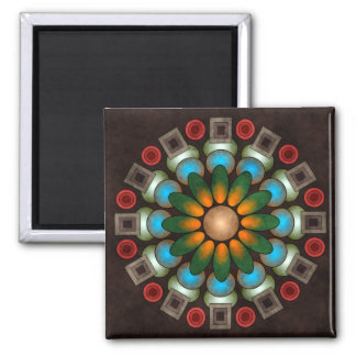 Cute Floral Abstract Vector Art Square Magnet