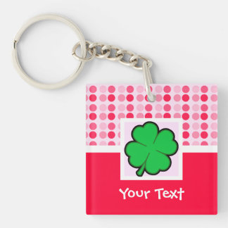 Cute Four Leaf Clover Double-Sided Square Acrylic Key Ring