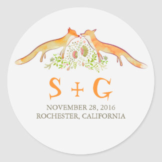 Cute Foxes Wedding Stickers