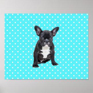 Cute French Bulldog Blue Polka Dots Poster