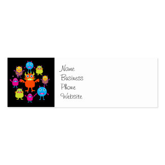 Cute Funny Monster Party Creatures in Circle Pack Of Skinny Business Cards