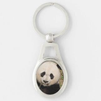 Cute Giant Panda Bear Silver-Colored Oval Key Ring
