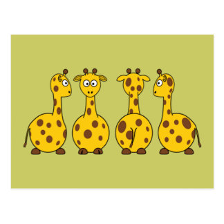 Cute Giraffe Cartoon Postcard