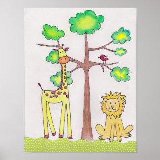 Cute giraffe lion illustration nursery art poster