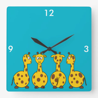 Cute Giraffe, Wild Animal Wall Clocks