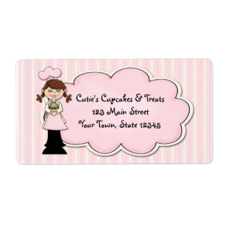 Cute Girl Chef, Cupcake, Pink Shipping Label