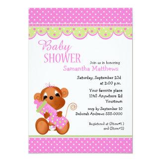Cute Girl Monkey with Baby Bottle Shower 13 Cm X 18 Cm Invitation Card