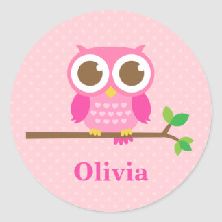 Cute Girly Pink Owl on Branch For Girls Round Sticker