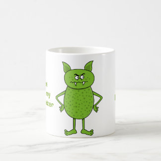 Cute green goblin cartoon basic white mug