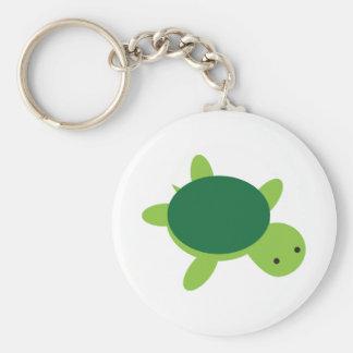 Cute Green Turtle Button Keychain