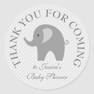 Cute grey polka dots elephant baby shower stickers