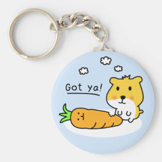 cute hamster is hungry basic round button key ring