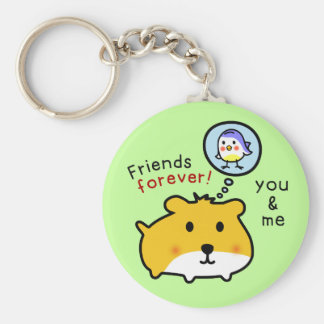 cute hamster timmy and friends basic round button key ring