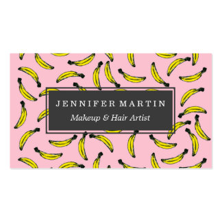 Cute Hand Painted Watercolor Bananas and Pink Pack Of Standard Business Cards