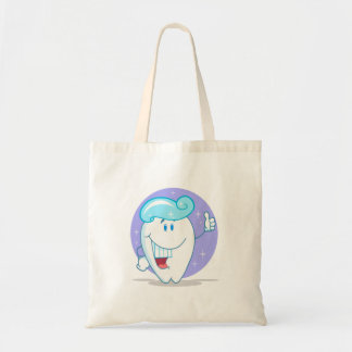 cute happy clean sparkling tooth cartoon character budget tote bag