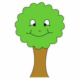 Cute Happy Green Tree. On white. Photo Sculpture Badge