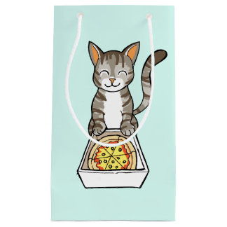 Cute Happy Pizza Cat / Kitten Drawing Gift Bag Small Gift Bag