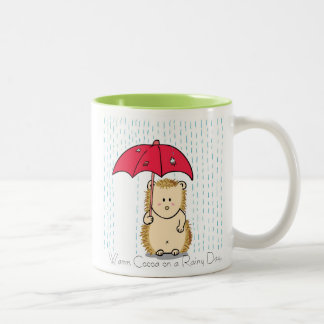 Cute hedgehog with torn umbrella Mug. Two-Tone Mug