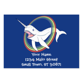 Cute Horn Narwhal With Rainbow Cartoon Pack Of Chubby Business Cards