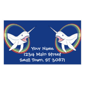 Cute Horn Narwhal With Rainbow Cartoon Pack Of Standard Business Cards
