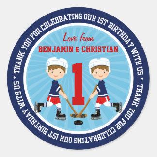 Cute Ice Hockey Twins 1st Birthday Thank You Round Sticker