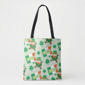 Cute Irish Leprechaun Pattern Tote Bag