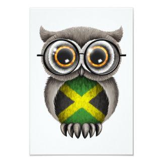 Cute Jamaican Flag Owl Wearing Glasses 9 Cm X 13 Cm Invitation Card