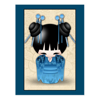 Cute Japanese Kokeshi Doll Dressed In Blue Postcard