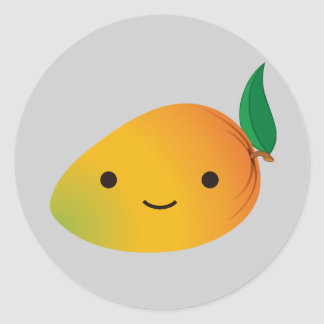 Cute Kawaii Mango Round Sticker