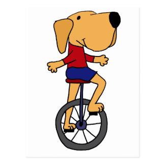 Cute Labrador Dog Riding Unicycle Cartoon Postcard