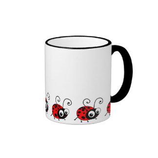 Cute Ladybug Ringer Mug