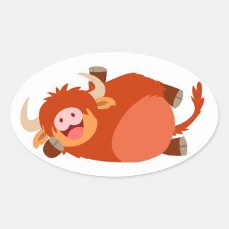 Cute  Lazy Cartoon Highland Cow Sticker
