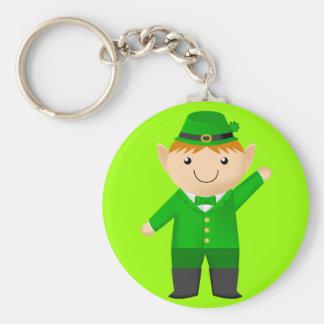 Cute Leprechaun Basic Round Button Key Ring