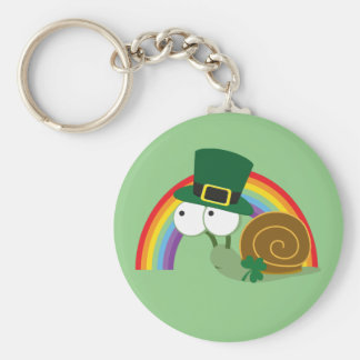 Cute Leprechaun Snail Basic Round Button Key Ring