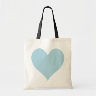 Cute Light Blue Heart Budget Tote Bag