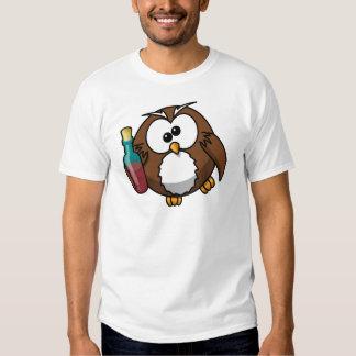 Cute little animated drunk owl shirt